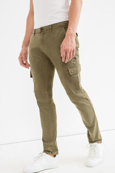 Slim-fit cargo-cut chinos, Olive Green, hi-res