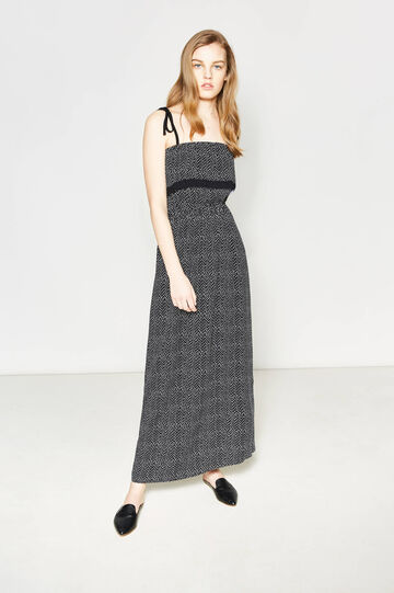 Long empire dress with all-over print