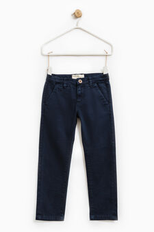 Solid colour stretch chino trousers, Ocean Blue, hi-res