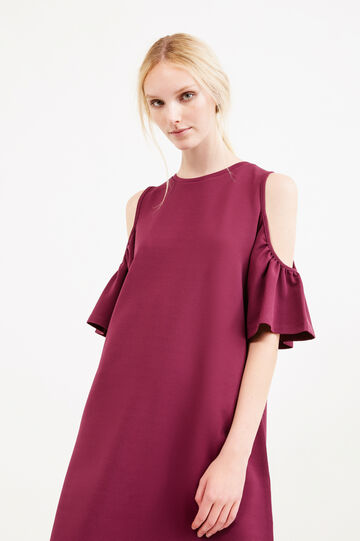 Short stretch dress with flounces, Plum, hi-res