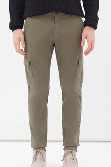 Stretch cotton cargo chinos, Army Green, hi-res