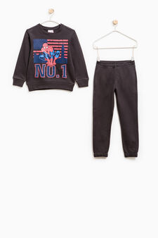 Cotton tracksuit with Spiderman print, Grey, hi-res