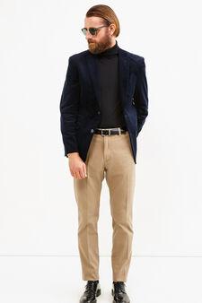 Elegant 100% cotton jacket with lapels, Blue, hi-res
