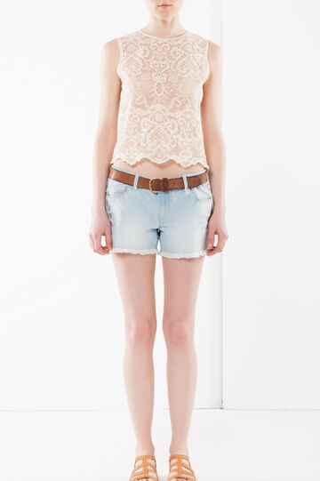 Laser cut embroidered denim shorts, Light Wash, hi-res
