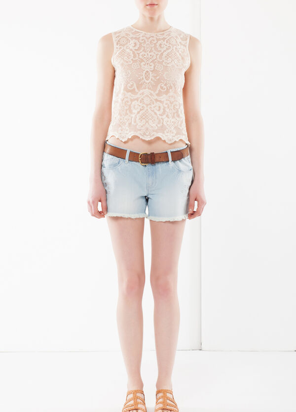 Laser cut embroidered denim shorts | OVS