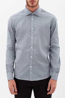 Slim fit shirt with micro check and polka dot pattern., White/Light Blue, hi-res