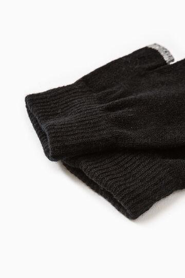 Fingerless gloves with contrasting edging, Black/Grey, hi-res