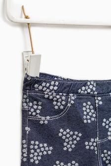 Patterned jeggings in 100% cotton, Denim Blue, hi-res