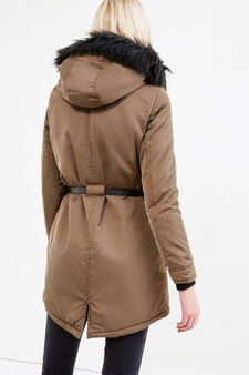 Solid colour parka with belt, Dark Green, hi-res