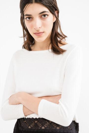 Pullover viscosa e cotone con pizzo, Bianco/Nero, hi-res