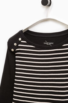 Smart Basic striped cotton T-shirt, Black, hi-res