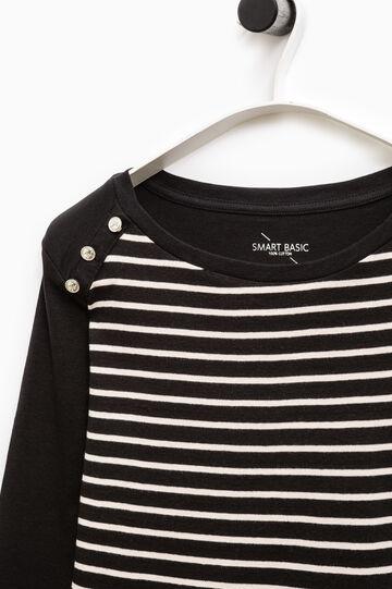 T-shirt cotone a righe Smart Basic, Nero, hi-res