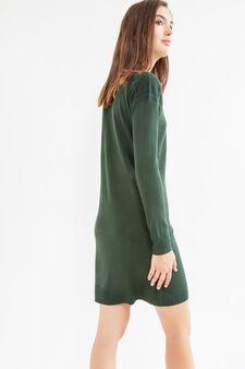 Abito tinta unita maniche lunghe, Verde, hi-res