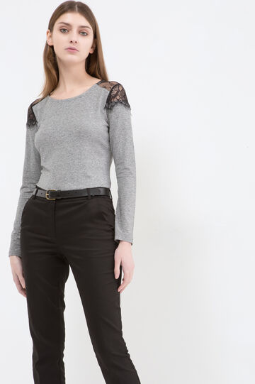 Stretch T-shirt with lace, Grey, hi-res