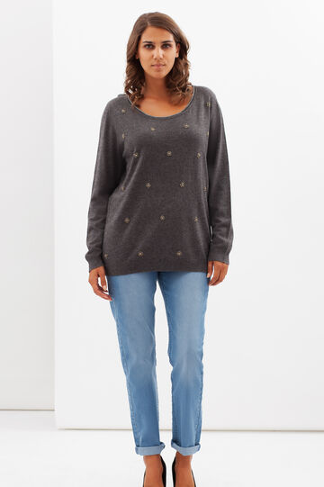 Curvy pullover with beads., Grey, hi-res