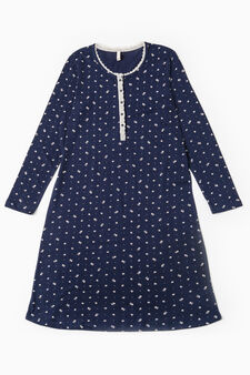Floral patterned cotton nightshirt, Navy Blue, hi-res