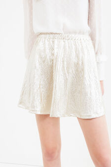 Short skirt with raised weave, Golden Yellow, hi-res