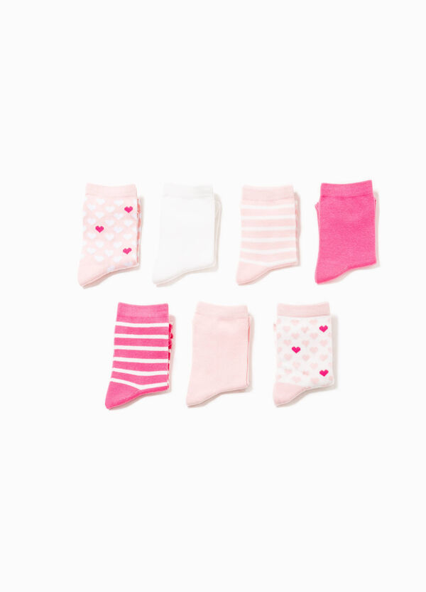 Seven-pair pack socks with hearts and stripes | OVS