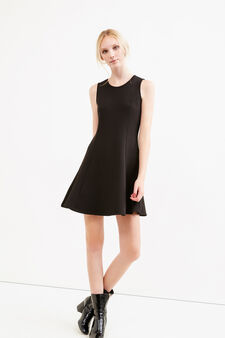 Short stretch dress with back opening, Black, hi-res