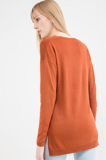 V-neck pullover with splits, Orange, hi-res