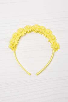 Solid colour hairband with flowers, Yellow, hi-res