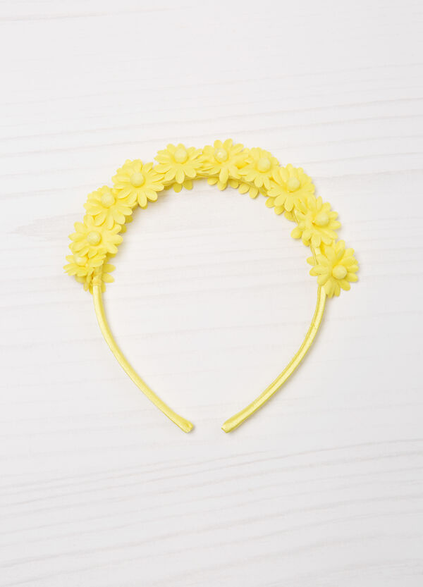 Solid colour hairband with flowers | OVS