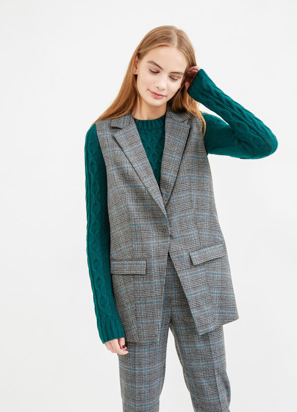 Long stretch waistcoat with check pattern | OVS