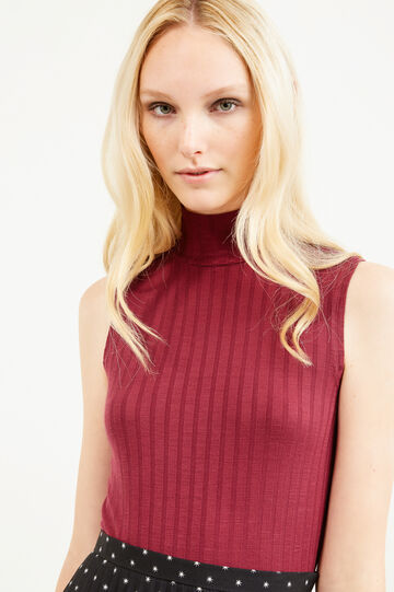 Ribbed top with high neck, Red, hi-res