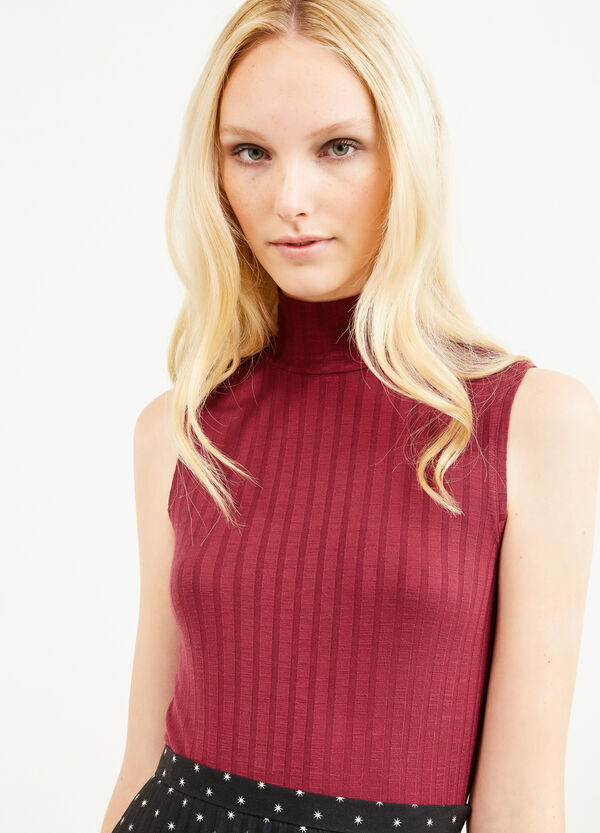 Ribbed top with high neck | OVS