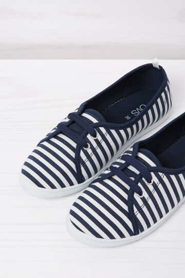 Low sneakers with striped pattern, White/Blue, hi-res