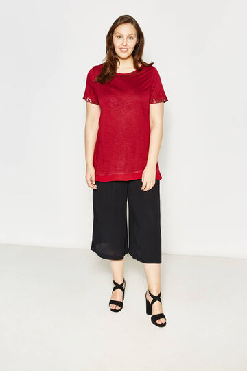 Curvy T-shirt with sequins and round neck, Red, hi-res