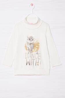 T-shirt cotone stretch con strass, Bianco latte, hi-res