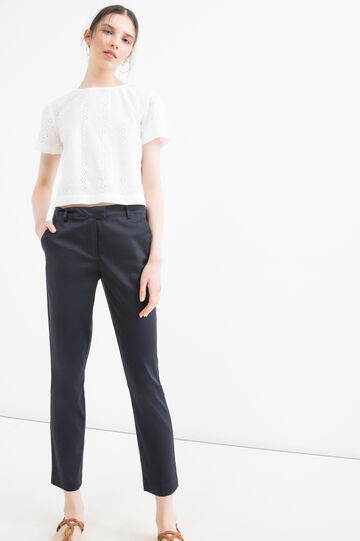 Stretch cotton satin trousers, Blue, hi-res