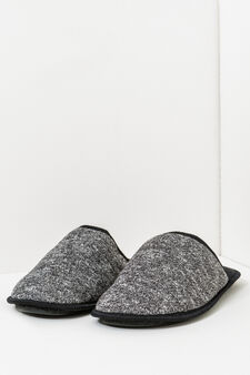 Melange  slippers with contrasting edging, Black, hi-res