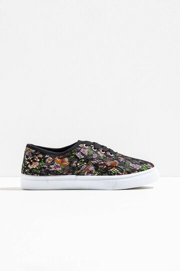 Mesh sneakers with floral pattern, Multicolour, hi-res