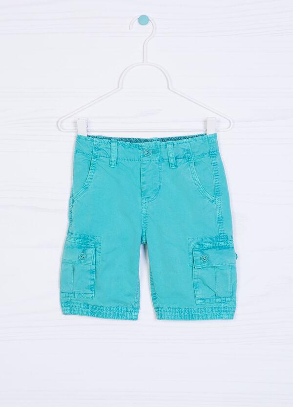 Solid colour 100% cotton Bermuda cargo shorts | OVS