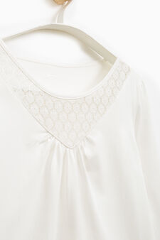 Smart Basic T-shirt with lace neck, White, hi-res