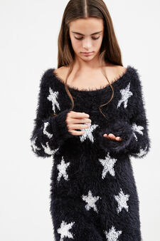 Teen faux fur pullover with stars, Black, hi-res