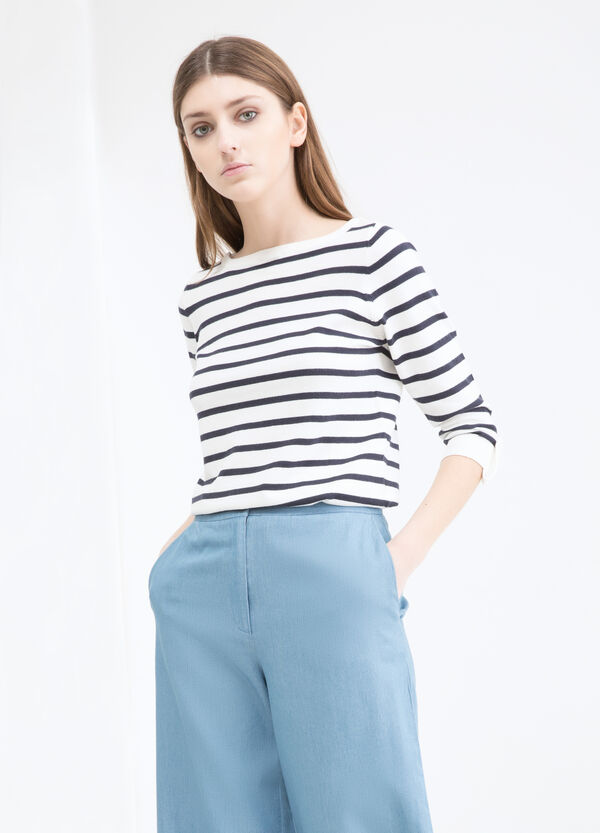 Striped cotton blend T-shirt | OVS