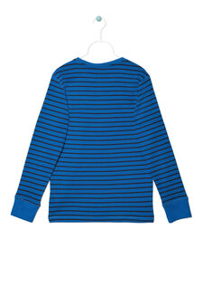 Striped jersey T-shirt, Black/Blue, hi-res