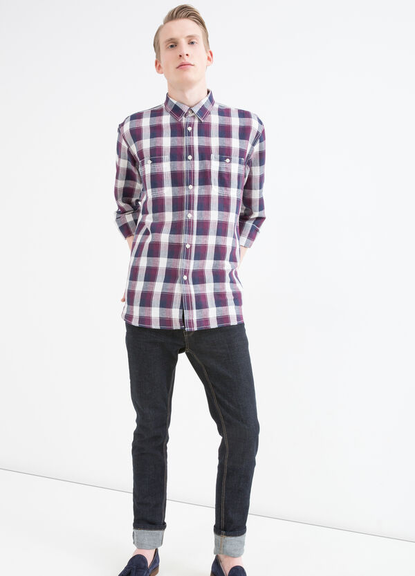 Camicia misto lino e cotone a quadri   OVS