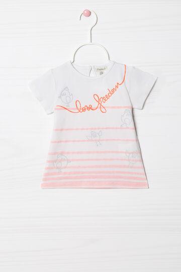 T-shirt stretch con righe e stampa