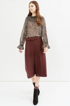 Gaucho trousers with belt, Claret Red, hi-res