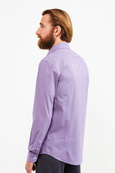 Slim-fit formal shirt in 100% cotton, Plum, hi-res