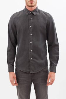 Plain cotton shirt, Dark Grey, hi-res