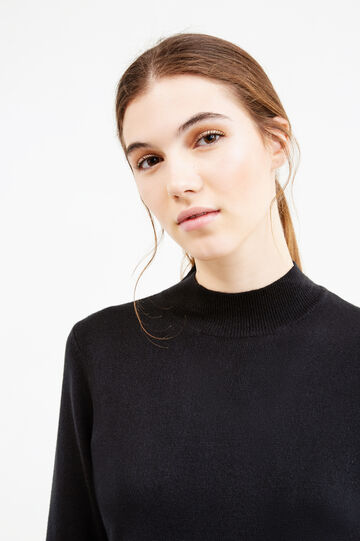 High neck ribbed pullover, Black, hi-res