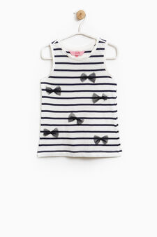 Striped cotton top with bows, White/Blue, hi-res