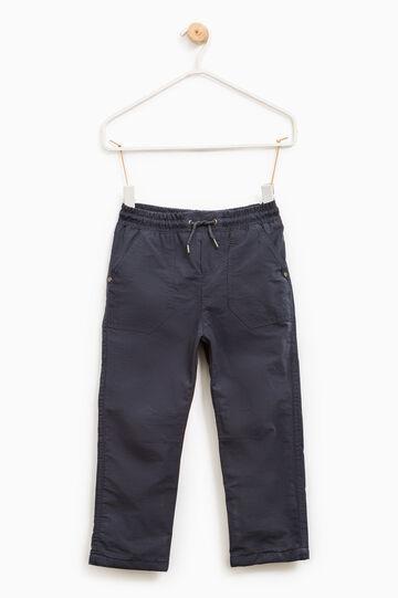 Pantaloni misto cotone con coulisse, Blu oceano, hi-res
