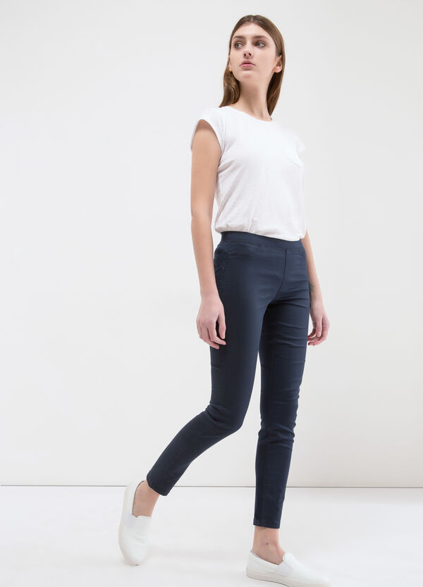 Stretch cotton regular waist jeggings | OVS