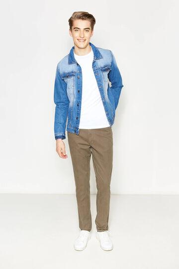 Pantaloni con piega in puro cotone, Marrone, hi-res